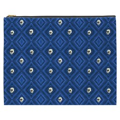 Funny Little Skull Pattern, Blue Cosmetic Bag (xxxl)  by MoreColorsinLife