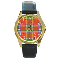 Orange And Green Plaid Round Gold Metal Watch by allthingseveryone