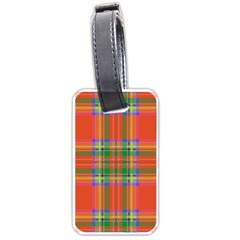 Orange And Green Plaid Luggage Tags (two Sides) by allthingseveryone