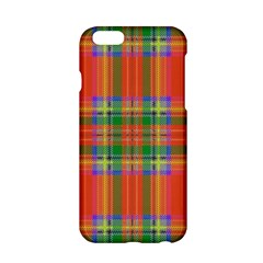 Orange And Green Plaid Apple Iphone 6/6s Hardshell Case by allthingseveryone