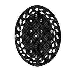 Funny Little Skull Pattern, B&w Ornament (oval Filigree) by MoreColorsinLife