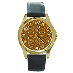 Funny Little Skull Pattern, Golden Round Gold Metal Watch by MoreColorsinLife