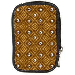 Funny Little Skull Pattern, Golden Compact Camera Cases by MoreColorsinLife