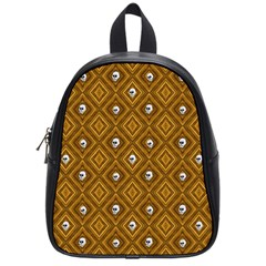 Funny Little Skull Pattern, Golden School Bag (small) by MoreColorsinLife