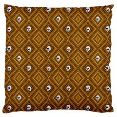 Funny Little Skull Pattern, Golden Large Cushion Case (one Side) by MoreColorsinLife
