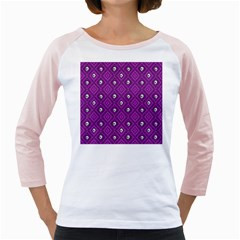 Funny Little Skull Pattern, Purple Girly Raglans by MoreColorsinLife
