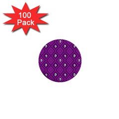 Funny Little Skull Pattern, Purple 1  Mini Buttons (100 Pack)  by MoreColorsinLife