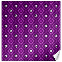 Funny Little Skull Pattern, Purple Canvas 16  X 16   by MoreColorsinLife