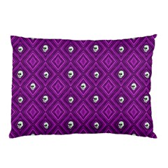 Funny Little Skull Pattern, Purple Pillow Case (two Sides) by MoreColorsinLife