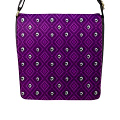 Funny Little Skull Pattern, Purple Flap Messenger Bag (l)  by MoreColorsinLife