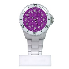 Funny Little Skull Pattern, Purple Plastic Nurses Watch by MoreColorsinLife
