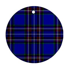 Bright Blue Plaid Round Ornament (two Sides) by allthingseveryone