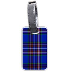Bright Blue Plaid Luggage Tags (one Side)  by allthingseveryone