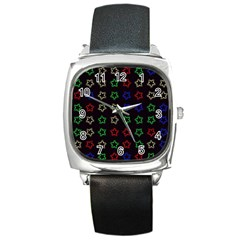Spray Stars Pattern A Square Metal Watch by MoreColorsinLife