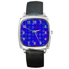 Spray Stars Pattern E Square Metal Watch by MoreColorsinLife