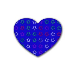 Spray Stars Pattern E Rubber Coaster (heart)  by MoreColorsinLife