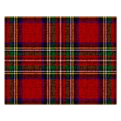 Red Tartan Plaid Rectangular Jigsaw Puzzl by allthingseveryone