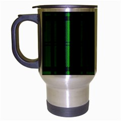 Green And Blue Plaid Travel Mug (silver Gray)