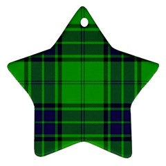 Green And Blue Plaid Star Ornament (two Sides)