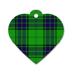 Green And Blue Plaid Dog Tag Heart (one Side) by allthingseveryone