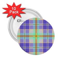 Blue And Yellow Plaid 2 25  Buttons (10 Pack)  by allthingseveryone