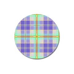 Blue And Yellow Plaid Magnet 3  (round) by allthingseveryone