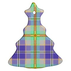 Blue And Yellow Plaid Ornament (christmas Tree)  by allthingseveryone