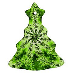 Lime Green Starburst Fractal Christmas Tree Ornament (two Sides) by allthingseveryone