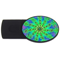 Green Psychedelic Starburst Fractal Usb Flash Drive Oval (2 Gb)