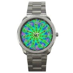 Green Psychedelic Starburst Fractal Sport Metal Watch by allthingseveryone