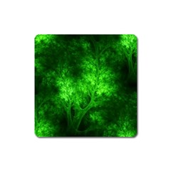 Artsy Bright Green Trees Square Magnet by allthingseveryone