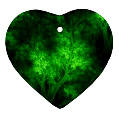 Artsy Bright Green Trees Heart Ornament (two Sides) by allthingseveryone