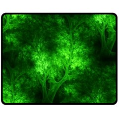 Artsy Bright Green Trees Double Sided Fleece Blanket (medium)  by allthingseveryone