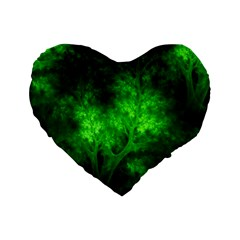 Artsy Bright Green Trees Standard 16  Premium Flano Heart Shape Cushions by allthingseveryone