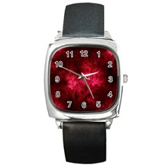 Artsy Red Trees Square Metal Watch by allthingseveryone