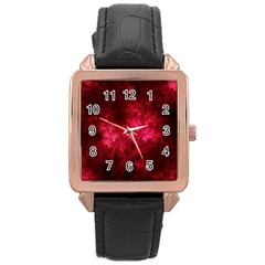 Artsy Red Trees Rose Gold Leather Watch  by allthingseveryone