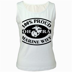 100% Proud Marine Wife Women s White Tank Top by allthingseveryday