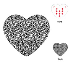 Star With Twelve Rays Pattern Black White Playing Cards (heart)