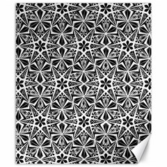 Star With Twelve Rays Pattern Black White Canvas 8  X 10  by Cveti