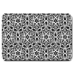 Star With Twelve Rays Pattern Black White Large Doormat  by Cveti
