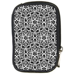 Star With Twelve Rays Pattern Black White Compact Camera Cases by Cveti