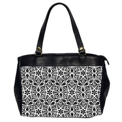 Star With Twelve Rays Pattern Black White Office Handbags (2 Sides)  by Cveti
