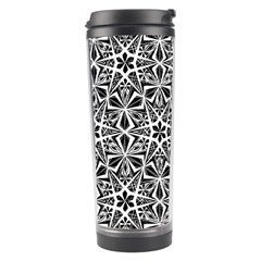 Star With Twelve Rays Pattern Black White Travel Tumbler by Cveti