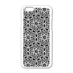 Star With Twelve Rays Pattern Black White Apple Iphone 6/6s White Enamel Case by Cveti