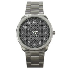 Black And White Ethnic Pattern Sport Metal Watch by dflcprints