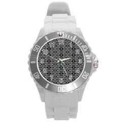 Black And White Ethnic Pattern Round Plastic Sport Watch (l) by dflcprints