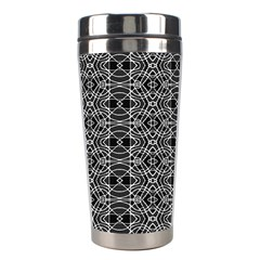 Black And White Ethnic Pattern Stainless Steel Travel Tumblers by dflcprints