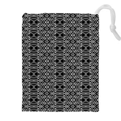 Black And White Ethnic Pattern Drawstring Pouches (xxl) by dflcprints