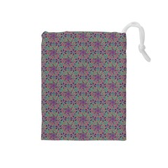 Flower Kaleidoscope Hand Drawing 2 Drawstring Pouches (medium)  by Cveti
