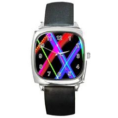 Xmas Light Paintings Square Metal Watch by Celenk